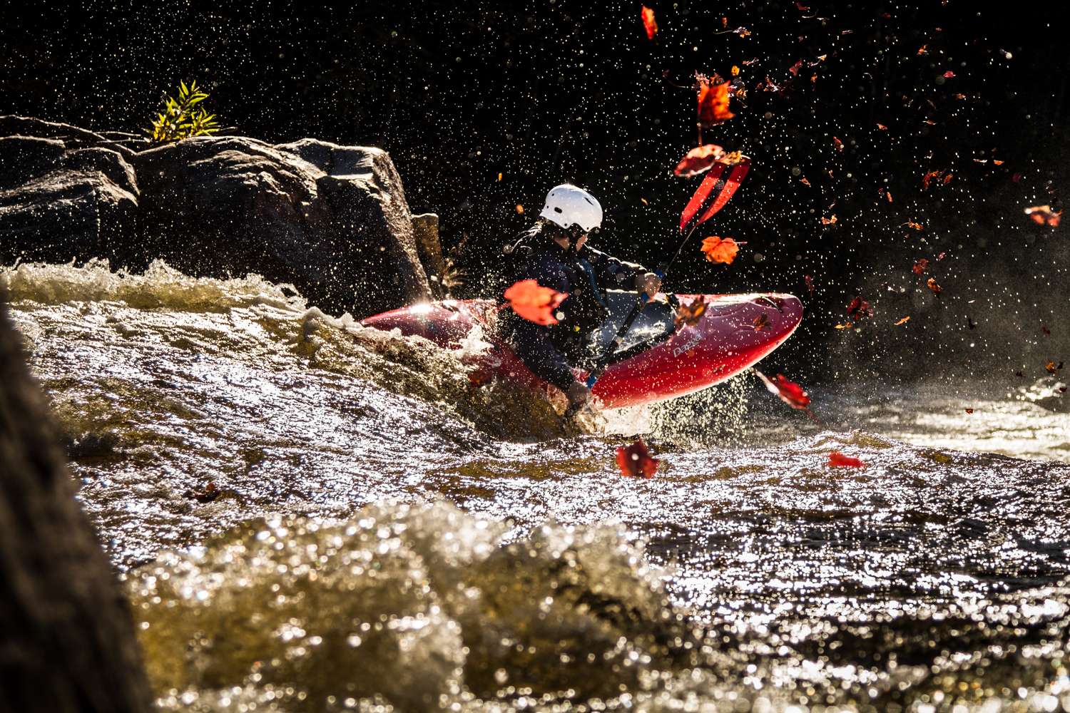Whitewater kayaking in Quebec's autumn colors